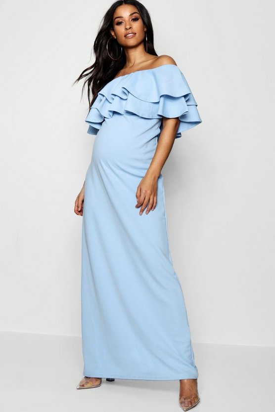 Maternity Eve Ruffle Off The Shoulder Maxi