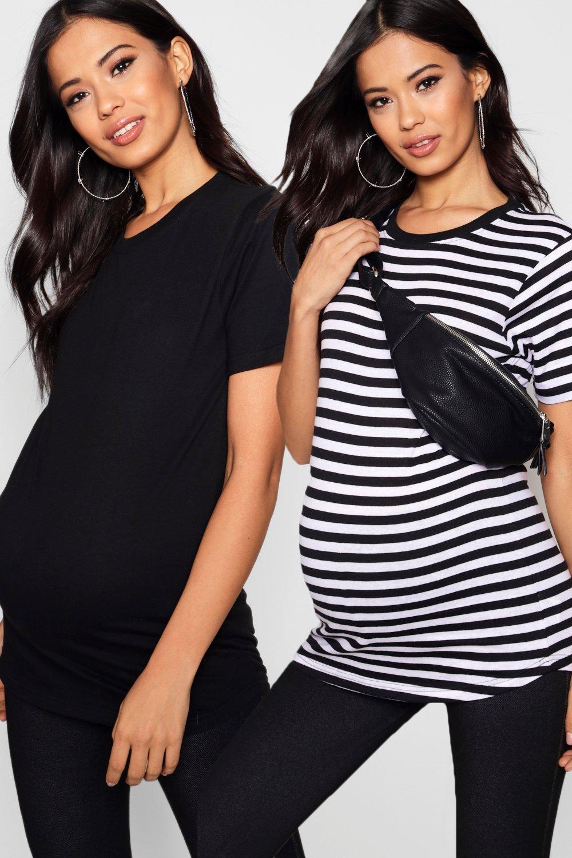 Womens Umstandsmode 2er-Pack Oversized T-Shirts - Mehrfarbig - 34, Mehrfarbig - Boohoo.com