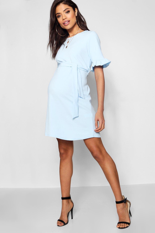 Maternity Clothing Maternity  Ruffle Tie Waist Smock Dress