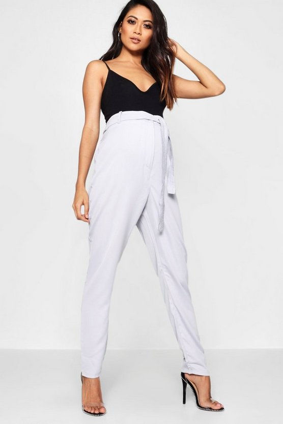 Maternity Katy Tie Waist Satin Tailored Trouser