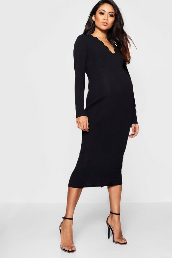 Maternity Scallop Edge Bodycon Midi Dress