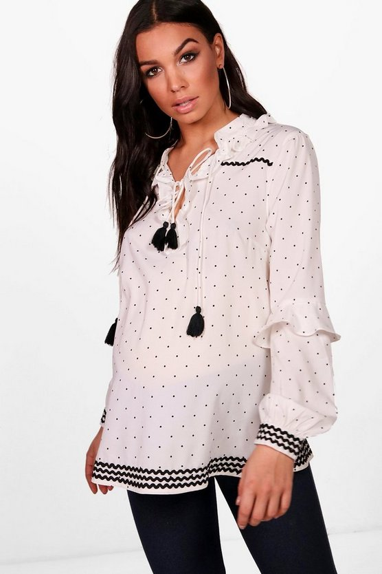 Maternity Ella Ruffle Collar Polka Dot Smock Top