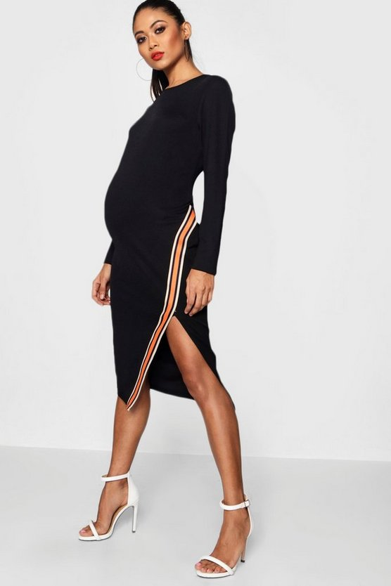 Maternity Meg Tape Trim Long Sleeve Midi Dress