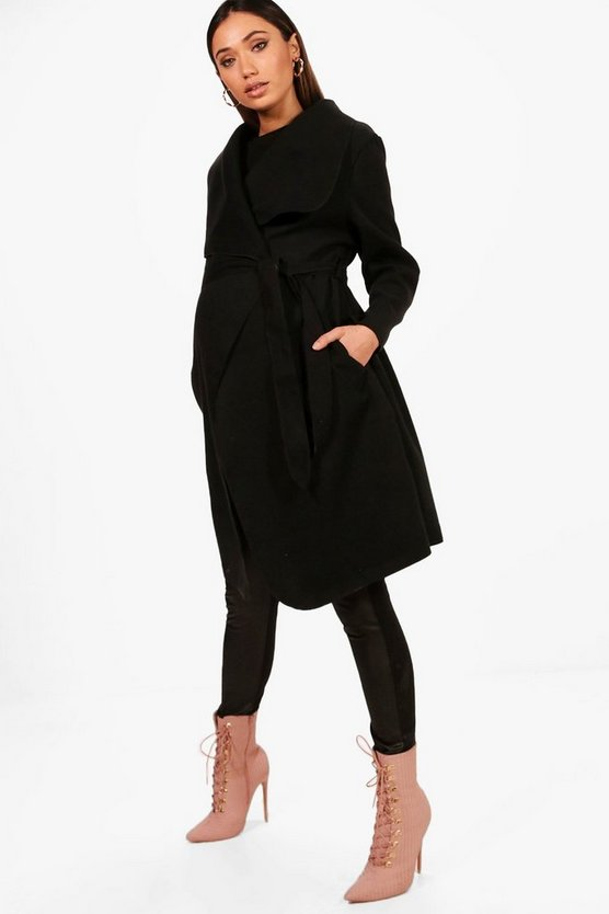 Maternity Izzy Tie Waist Shawl Collar Coat