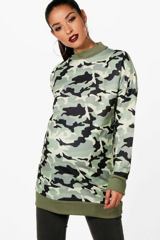 Top Sweat surdimensionné de maternité camouflage