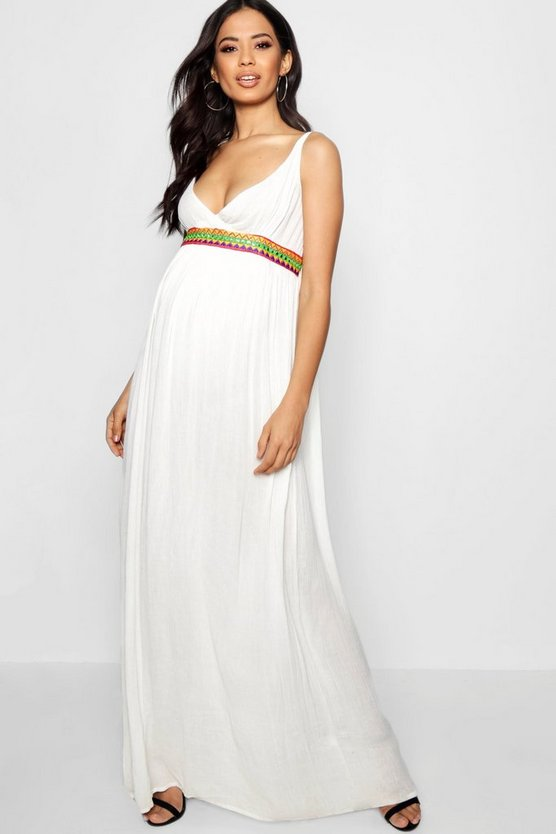 Maternity Leah Embroidered Strappy Maxi Dress