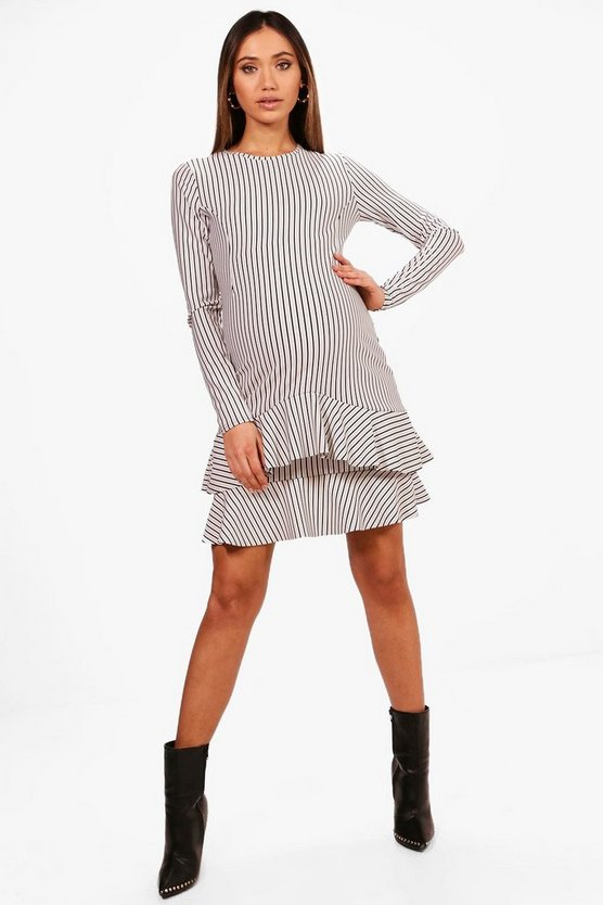 Maternity Stripe Ruffle Skater Dress