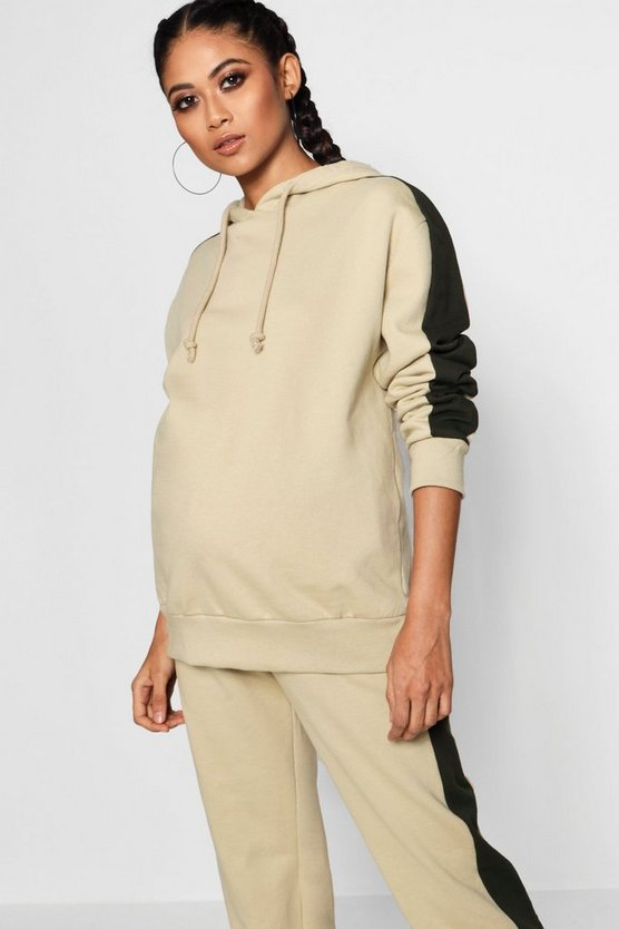 Maternity Sports Stripe Oversized Lounge Hoodie