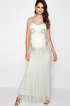 Maternity Wedding Embellished Fishtail Dress