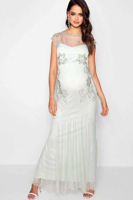 Maternity Lois Wedding Embellished Fishtail Dress