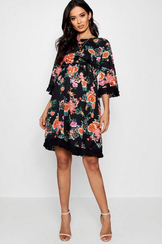 Maternity Helen Floral Tassel Hem Skater Dress