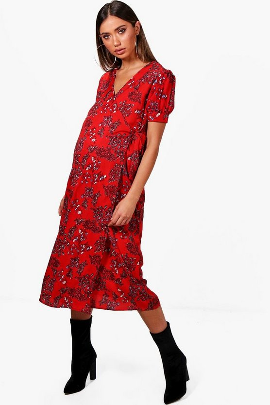 Maternity Charlie Floral Ruched Wrap Dress