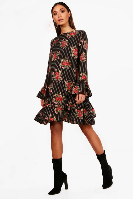 Maternity Annie Floral Stripe Ruffle Sleeve Dress.
