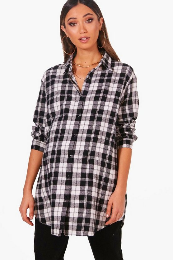 Maternity Melissa Oversized Check Shirt
