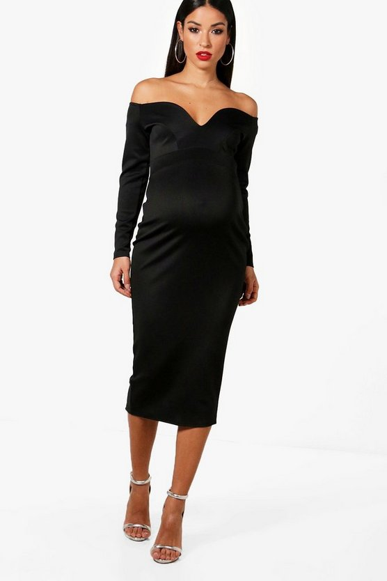 Maternity Josie Sweetheart Bardot Midi Dress