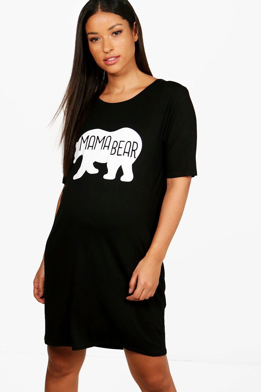 "Womens Umstandsmode Nachthemd mit ""Mama Bear""-Print - schwarz - 42, Schwarz - Boohoo.com"
