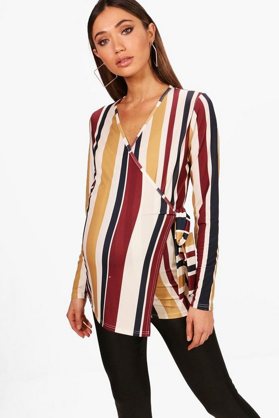 Maternity Emma Stripe Wrap Top