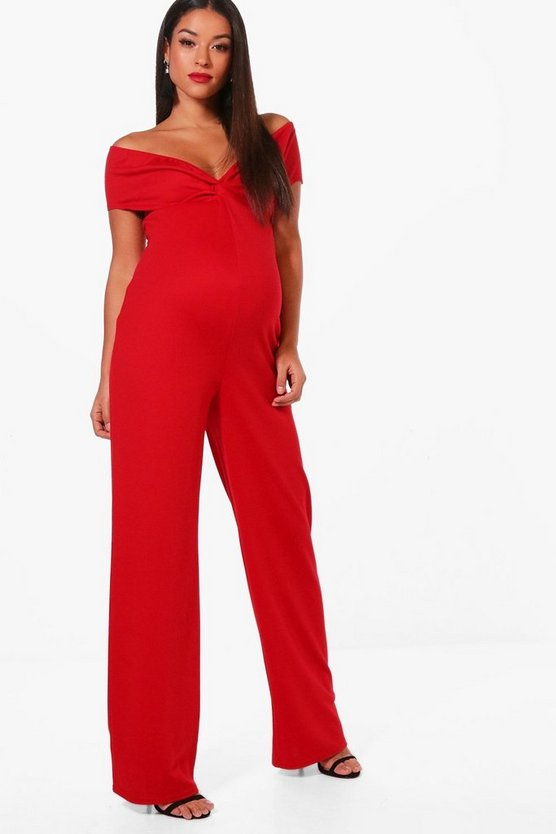 Maternity Off Shoulder Ruched Jumpsuit