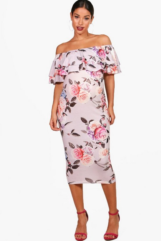 Maternity Nina Off The Shoulder Ruffle Dress