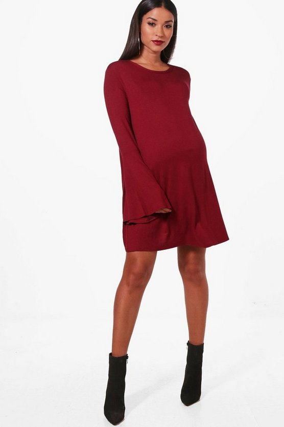 Maternity Sofie Swing Dress With Flute Sleeve