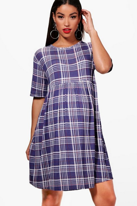Maternity Suzie Check Print Smock Dress
