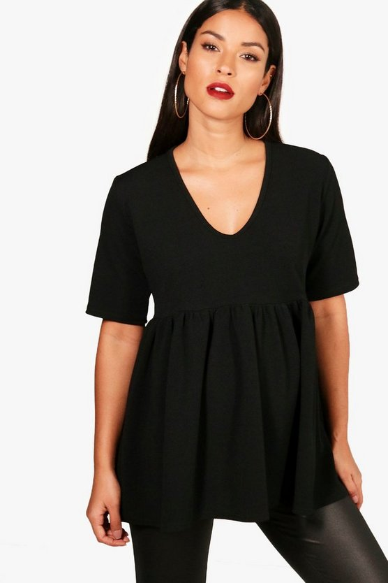 Maternity Crepe V Neck Smock Top