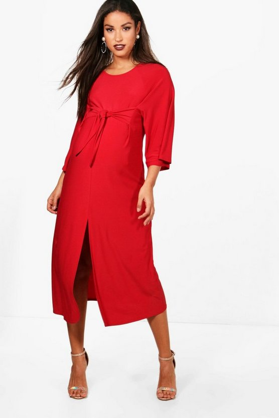 Maternity Emily Tie Front Midi Dress