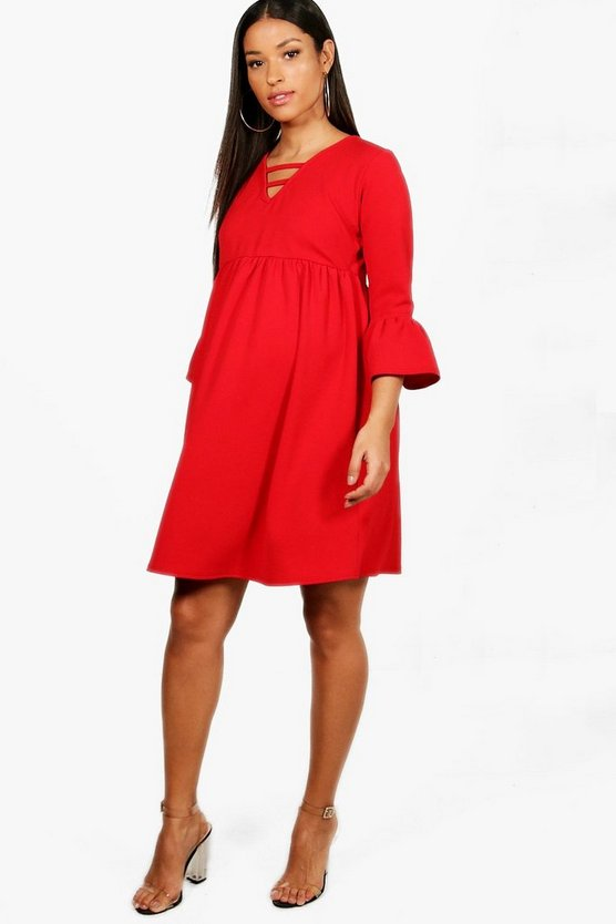 Maternity Shannon Ruffle Hem Smock Dress