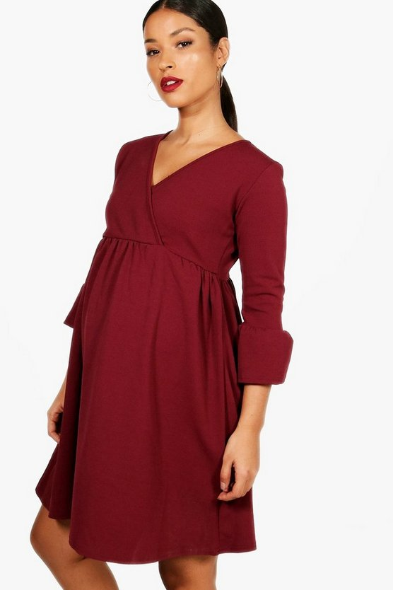 Maternity Crepe Ruffle Smock Dress