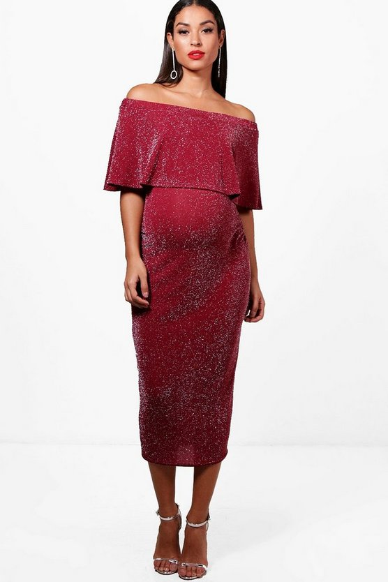 Maternity Amy Glitter off The Shoulder Midi Dress