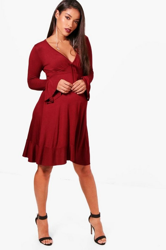 Maternity Ruffle Hem Skater Dress
