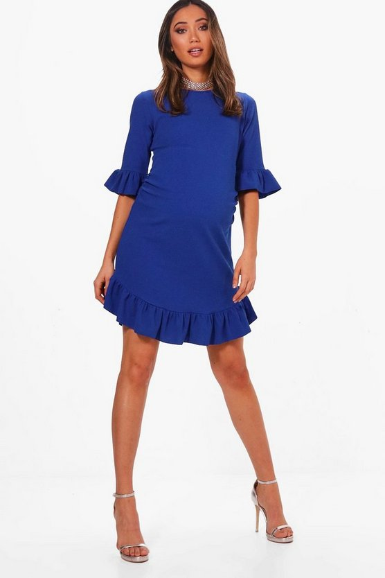 Maternity Belle Curve Hem Ruffle Shift Dress
