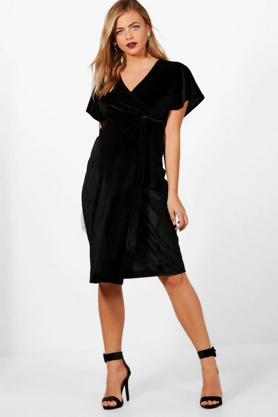 Maternity Velvet Wrap Midi Dress