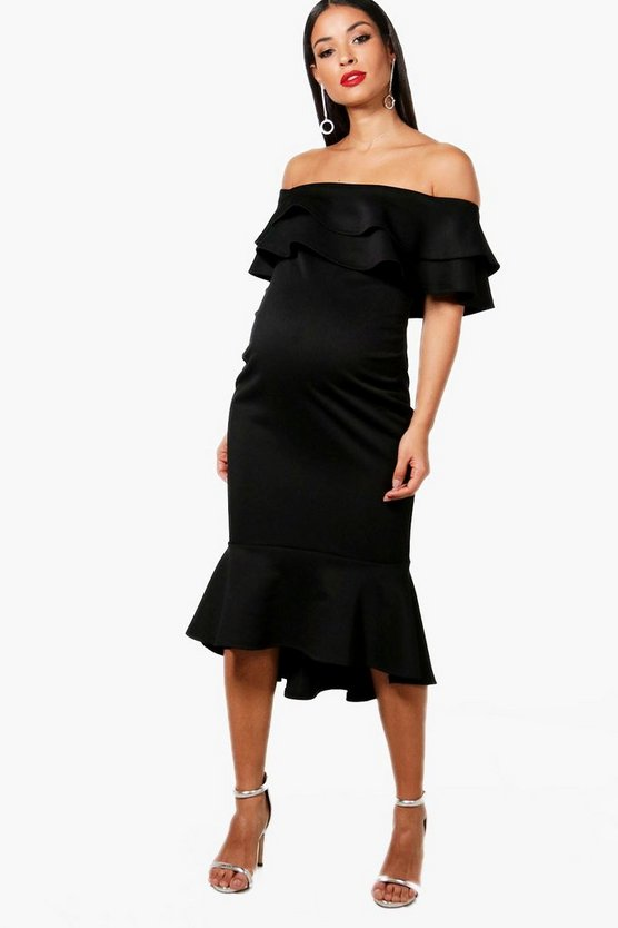 Maternity Julie Off The Shoulder Ruffle Midi Dress