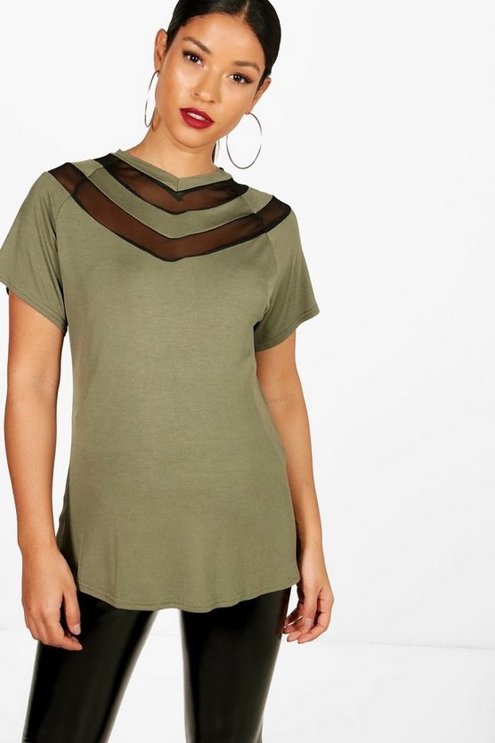 Maternity Nina Sheer Chevron T-Shirt