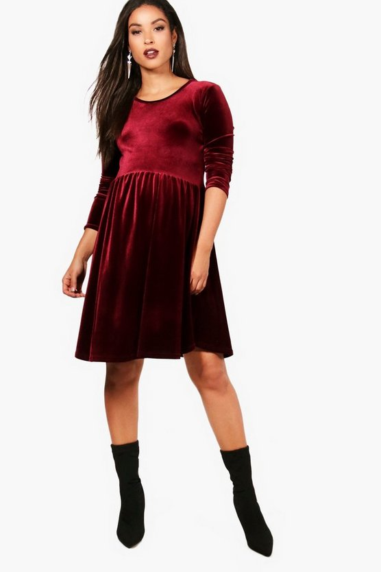 Maternity Poppy Velvet Smock Dress