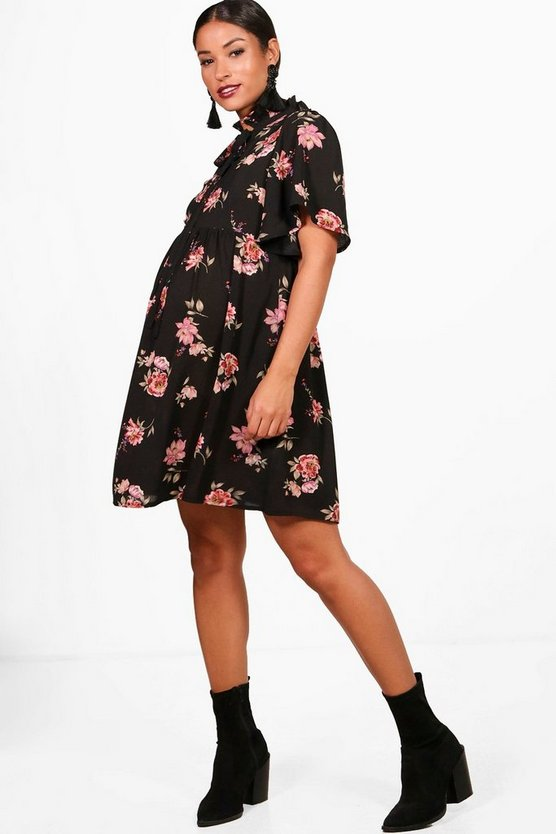 Maternity floral Tie Neck Smock Dress