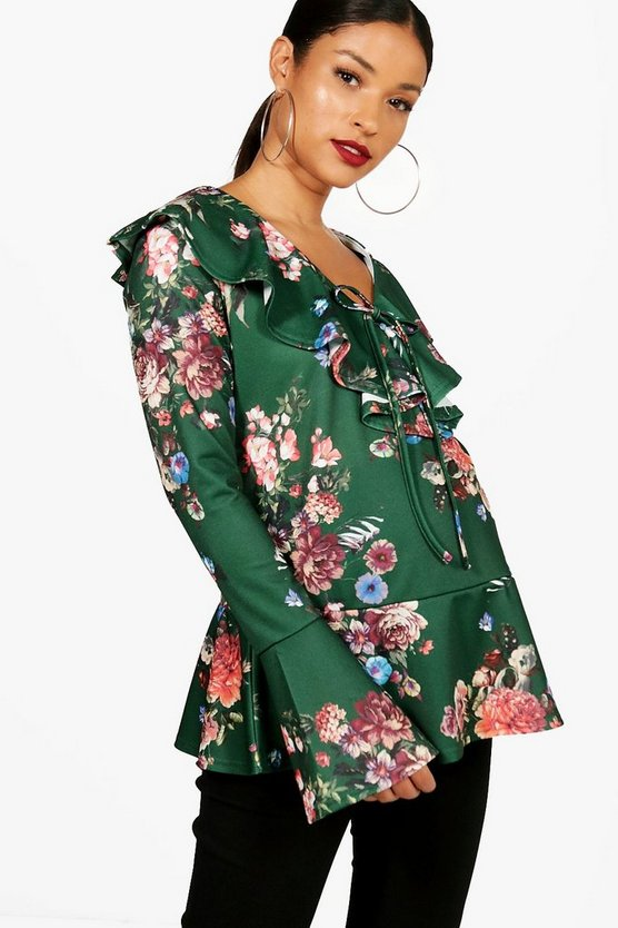 Maternity Lilly Floral Ruffle Blouse