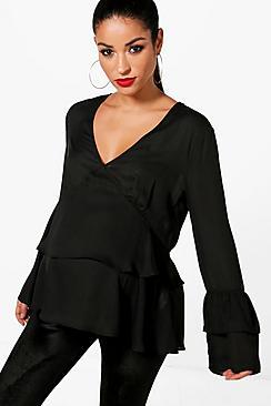 Mama mit Hängerchenkleid Bluse mit Rüschen und V-Ausschnitt - Boohoo.com