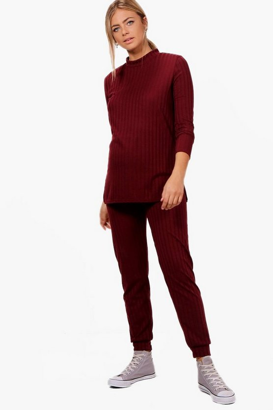 Maternity Grace Side Split Ribbed Top + Jogger