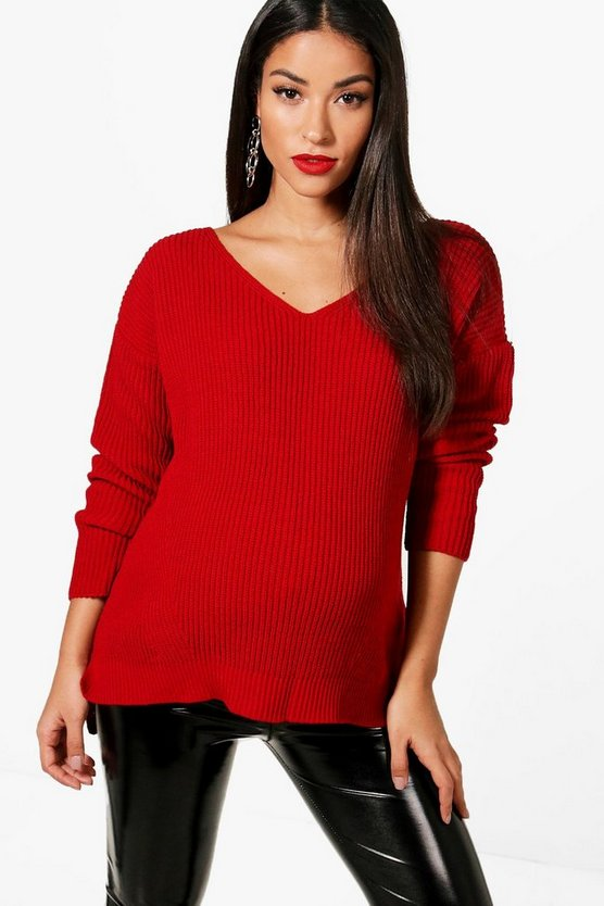 Maternity Lillian Slouchy V Neck Jumper