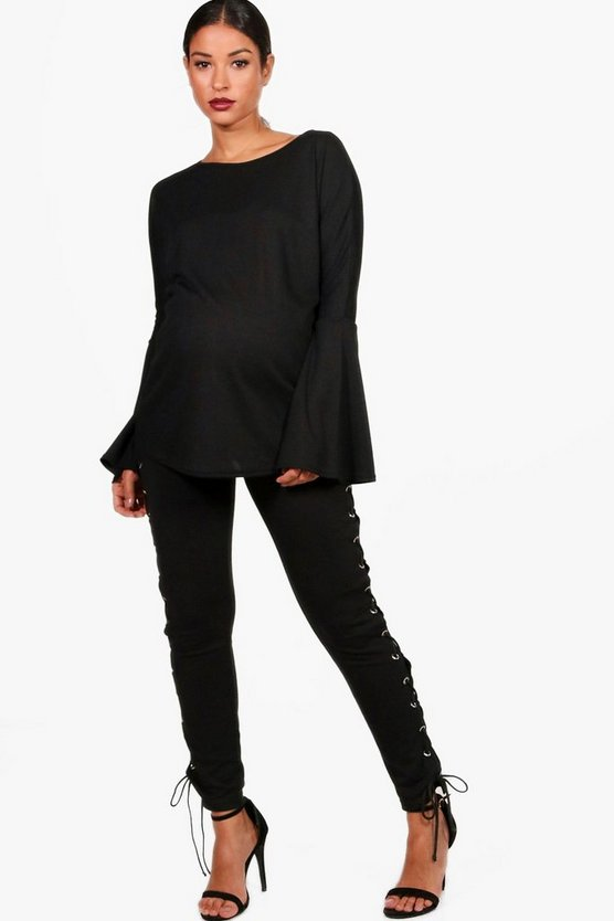 Maternity Eva Flare Sleeve Ribbed Jumper