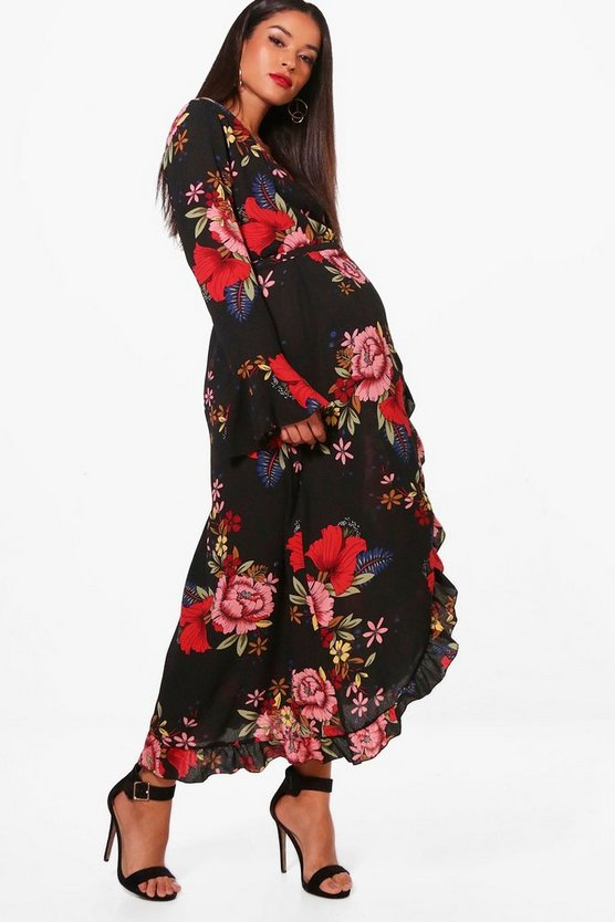 Maternity Lorna Floral Wrap Midi Dress