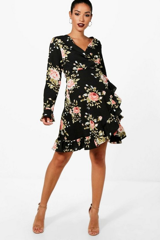 Maternity  Floral Wrap Tea Dress