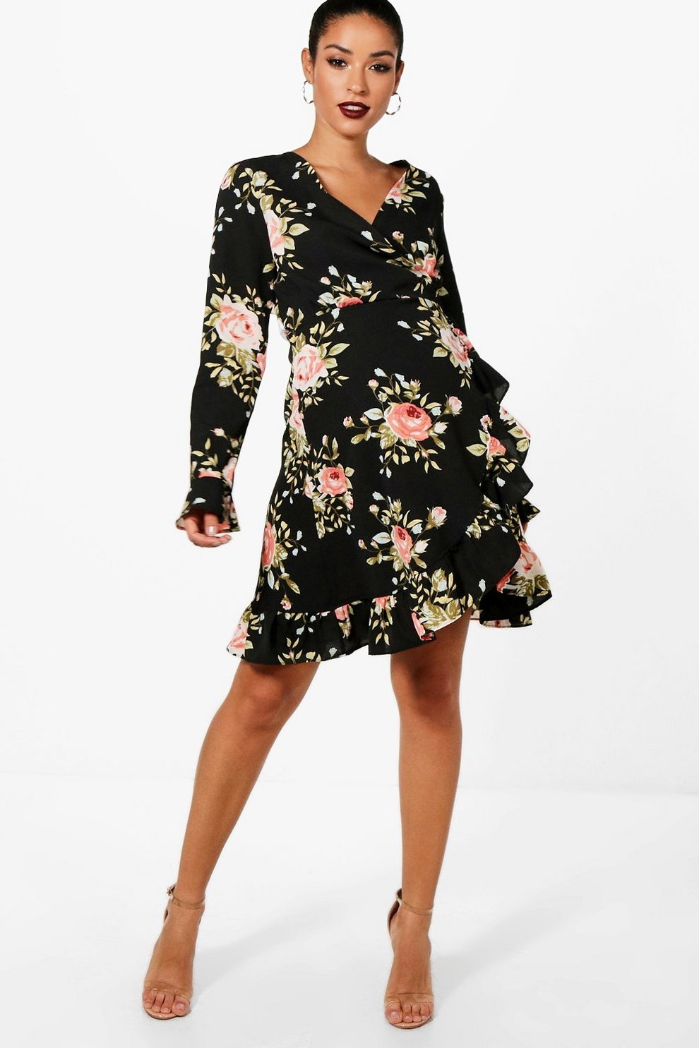Boohoo Maternity Floral Ruched Wrap Dress How Much For Sale Good Selling Cheapest Price For Sale lFjpyKCbC