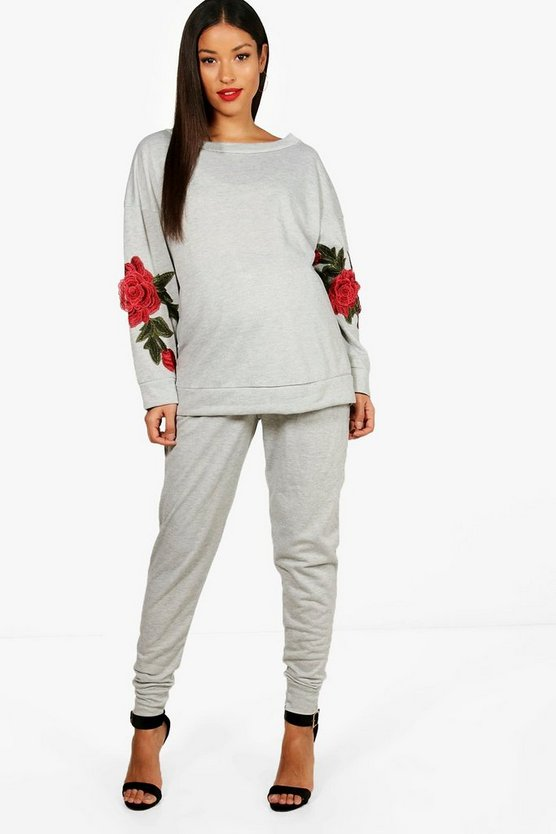 Maternity Fliss Embroidered Lounge Jogger Set