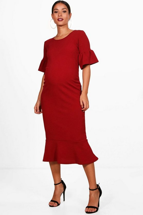 Maternity Felicity Ruffle Fishtail Hem Midi Dress