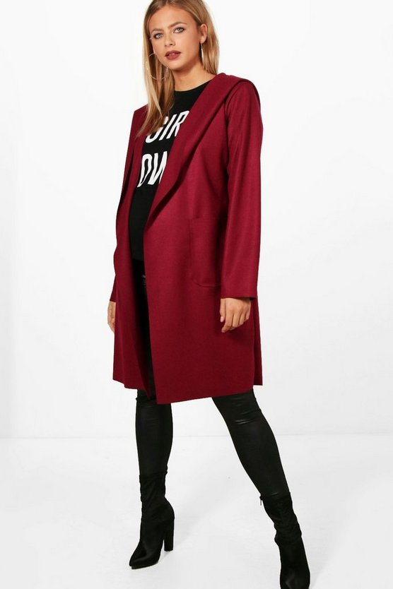 Maternity Laura Oversized Hooded Waterfall Coat