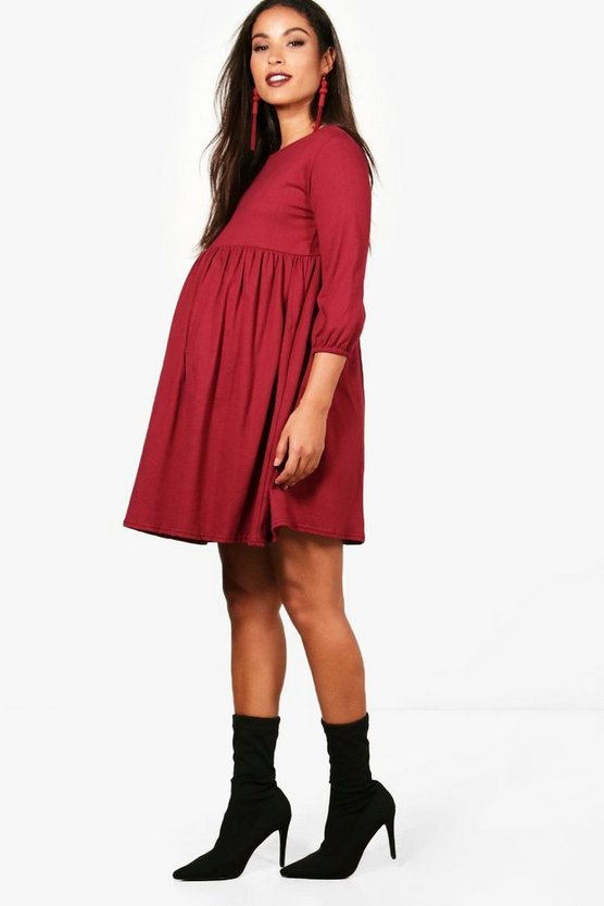 Maternity Molly Cuff Detail Smock Dress