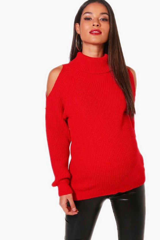Maternity Lisa Open Shoulder Roll Neck Jumper